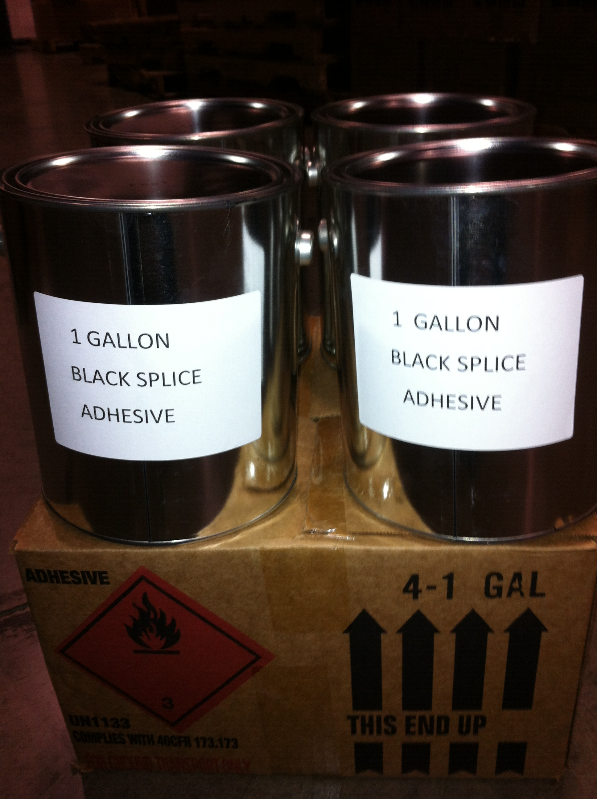 1 Case 4 1 Gallon Pails Of Black Splice Adhesive For
